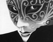 Black and White Version of Silver Flair Mask Giclee Print on Canvas