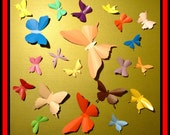 3D Wall Butterflies - 40 Assorted Color Butterfly Silhouettes, Home Decor, Nursery