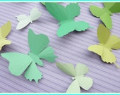 3D Wall Butterflies - 15 Light Lime to Green Butterfly Silhouettes, Home Decor, Nursery