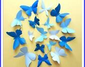 3D Wall Butterflies - 15 Azure, Baby, Royal Blue Butterfly Silhouettes, Nursery, Home Decor