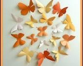 3D Wall Butterflies - 30 Pumpkin, Light Mustard, Light Peach, Orange Butterfly Silhouettes, Wedding, Home Decor
