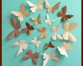 3D Wall Butterflies - 30 Chocolate, Camel, Tan, Brown Butterfly Silhouettes, Home Decor, Nursery, Wedding