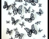 3D Wall Butterflies - 100 Black Different Butterfly for your Nursery, Home Decor