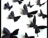 3D Wall Butterflies - 15 Assorted Black Butterfly Silhouettes, Home Decor, Nursery