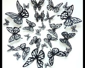3D Wall Butterflies - 60 Assorted Black Butterfly Silhouettes, Nursery, Wedding, Birthday
