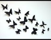 3D Wall Butterflies - 100 Assorted Black Butterfly Silhouettes, Nursery, Home Decor