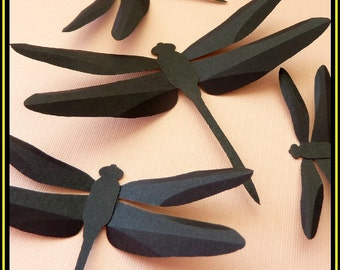 3D Wall Dragonfly - 15 Assorted Black Dragonflies Silhouettes