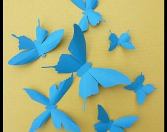 3D Wall Butterflies - 20 Blue Butterfly Silhouettes, Home Decor, Nursery