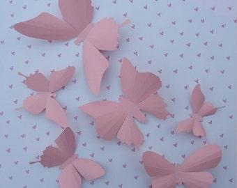 3D Wall Butterflies - 20 Light Pink Butterfly Silhouettes, Home Decor, Nursery