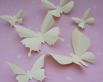 3D Wall Butterflies - 20 Ivory Cream Butterfly Silhouettes, Home Decor, Nursery