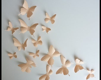 3D Wall Butterflies - 30 Light Peach Butterfly Silhouettes, Nursery, Home Decor, Wedding
