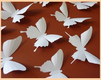 3D Wall Butterflies - 20 White Butterfly Silhouettes, Wedding, Nursery, Home Decor