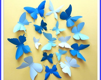 3D Wall Butterflies - 15 Azure, Baby, Royal Blue Butterfly Silhouettes, Nursery, Home Decor