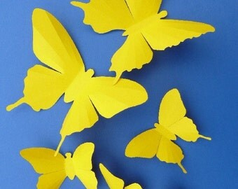 3D Wall Butterflies - 15 Yellow Butterfly Silhouettes, Home Decor, Nursery