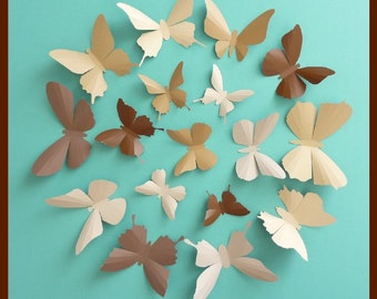 3D Wall Butterflies - 30 Chocolate, Camel, Tan, Brown Butterfly Silhouettes, Home Decor, Nursery, Wedding