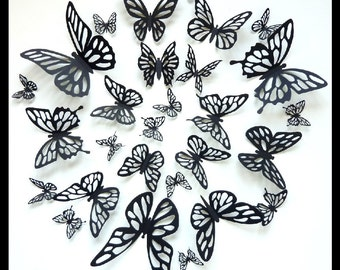 3D Wall Butterflies - 30 Black Butterflies for your Home Decor, Nursery
