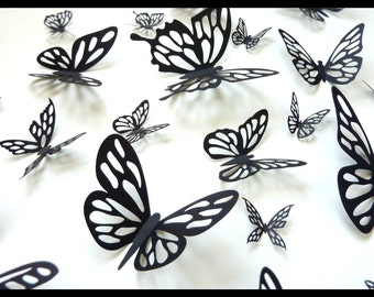 3D Wall Butterflies - 30 Black Butterfly Silhouettes, Nursery, Home Decor, Wedding