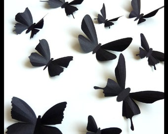3D Wall Butterflies - 50 Assorted Black Butterfly Silhouettes, Home Decor, Nursery
