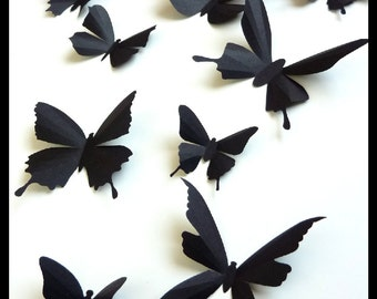 3D Wall Butterflies - 20 Assorted Black Butterfly Silhouettes, Home Decor, Wedding, Nursery