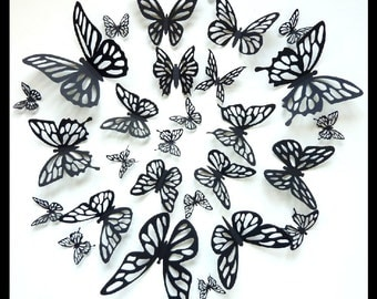 3D Wall Butterflies - 60 Assorted Black Butterfly Silhouettes, Nursery, Wedding, Birthday