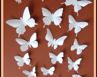3D Wall Butterflies - 60 White Butterfly Silhouettes, Nursery, Home Decor, Wedding