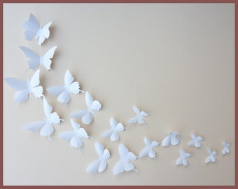 3D Wall Butterflies - 30 White Butterfly Silhouettes, Nursery, Home Decor, Wedding