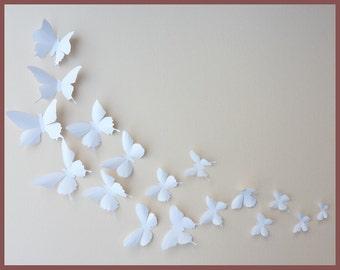 3d Wall Butterflies 100 White Butterfly Silhouettes Nursery Home Decor Wedding