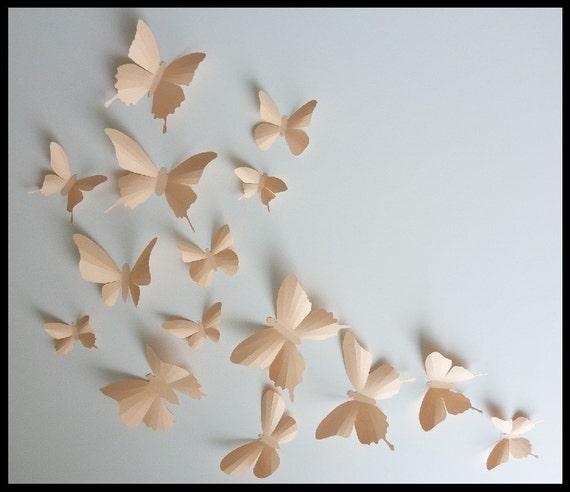 3D Wall Butterflies - 15 Light Peach Butterfly Silhouettes, Nursery, Home Decor, Wedding