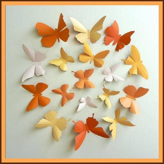 3D Wall Butterflies - 15 Pumpkin, Light Mustard, Light Peach, Orange Butterfly Silhouettes, Home Decor