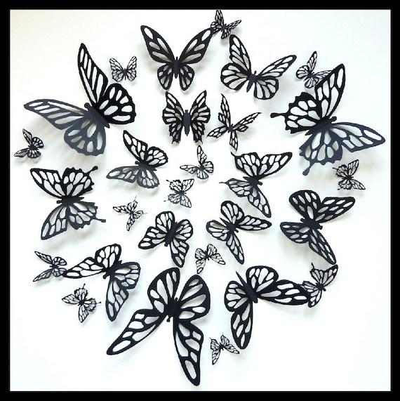 3D Wall Butterflies - 30 Black Butterflies for your Home Decor, Nursery