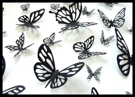 3D Wall Butterflies - 10 Black Different Butterfly for your Home, Nursery