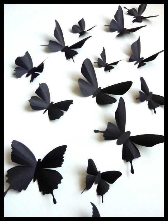 3D Wall Butterflies - 50 Assorted Black Butterfly Silhouettes, Home Decor, Nursery