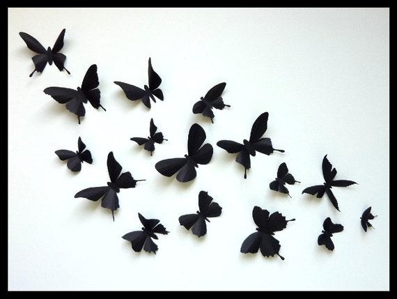 3D Wall Butterflies - 80 Assorted Black Butterfly Silhouettes, Nursery, Home Decor