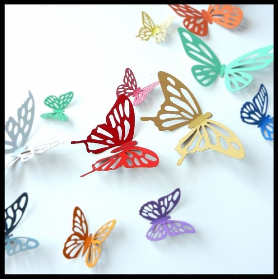 Etsy Butterfly Wall Decor : Items similar to d wall butterflies colorful