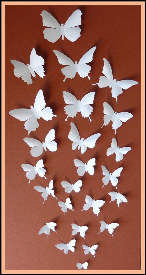 3D Wall Butterflies - 50 White Butterfly Silhouettes, Nursery, Home Decor, Wedding