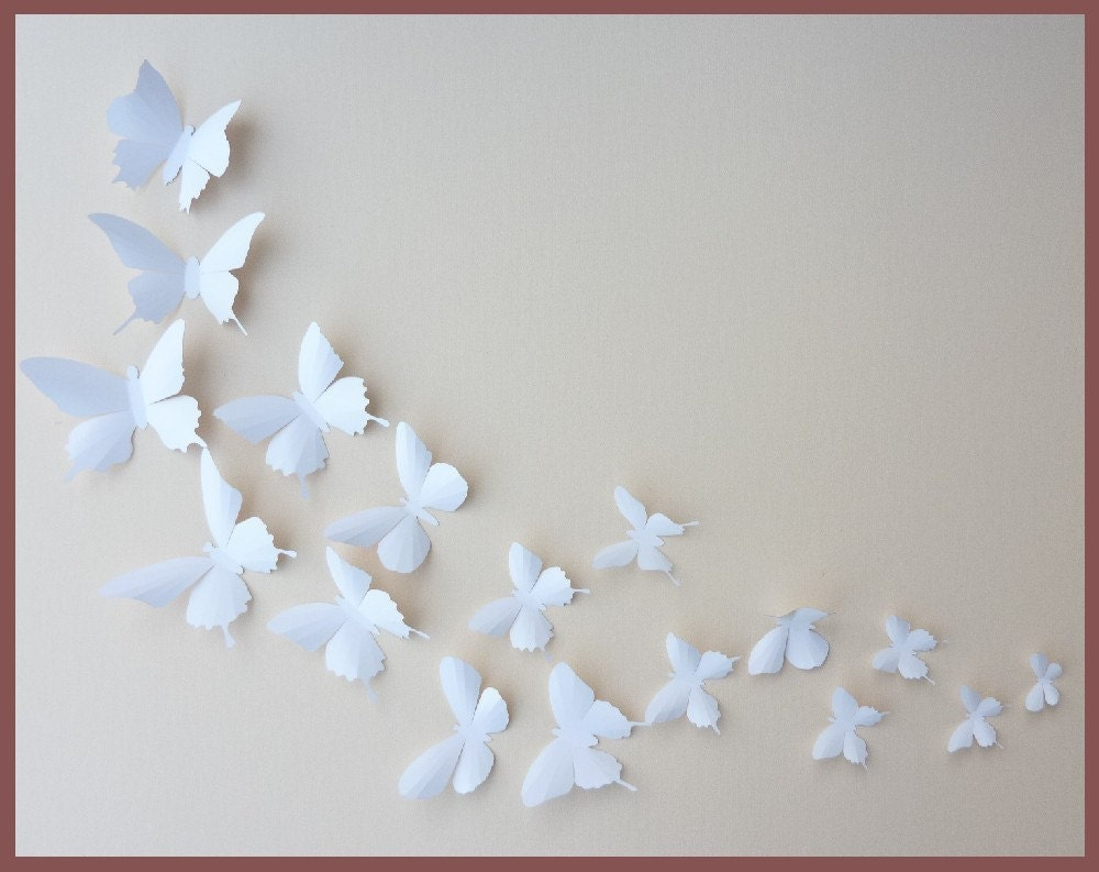 3d Wall Butterflies 10 White Butterfly Silhouettes By Bugsloft