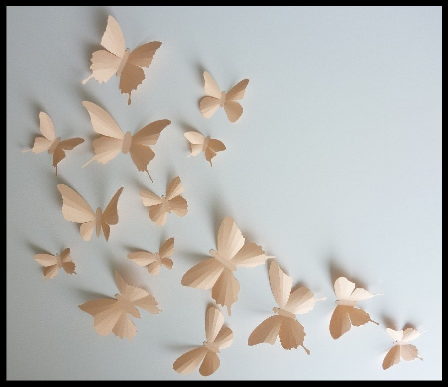 3d Wall Butterflies 15 Light Peach Butterfly Silhouettes