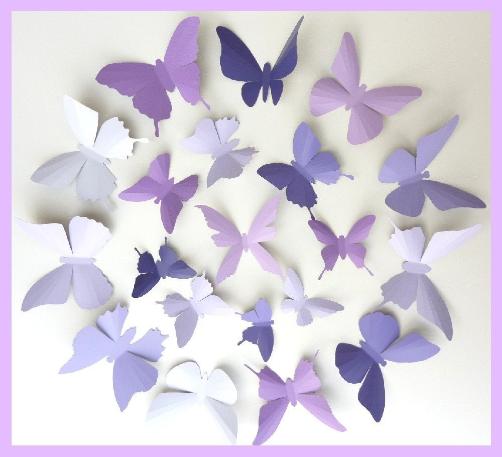 Eggplant kitchen accessories - 3d Wall Butterflies 15 Lavender Purple Eggplant Butterfly Silhouettes Nursery Home