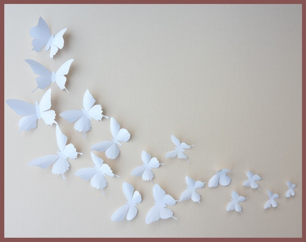 3d wall butterflies 30 white butterfly silhouettes nursery for White wall decor