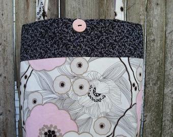 Pink & White Flower Blossom Tote Bag