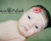 Halo headband. Many colors available. Newborn. Photo prop. Tiny fabric flower.