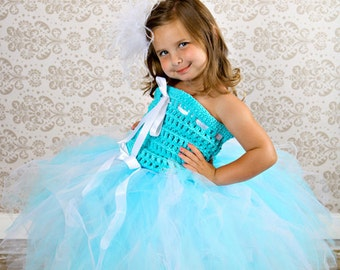 Aquamarine and White Pageant or Flower Girl Tulle Tutu Ensemble with Hand Crochet Tube Top for Pageants, Weddings, Birthday Parties
