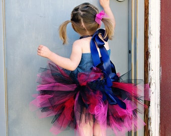 Diva Denim Grunge Tutu Ensemble, Fabric Tie Top and Ribbon Waist Multi-Length Tulle Tutu for Girls