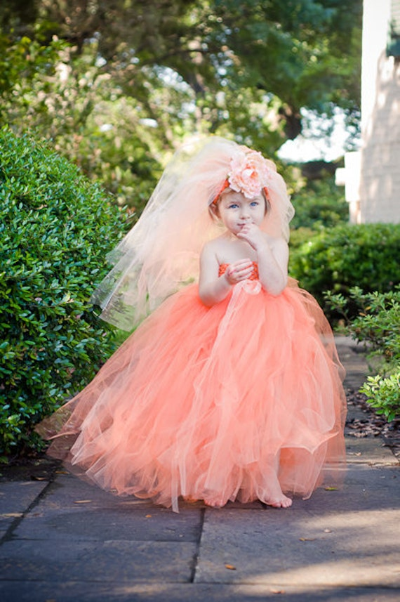 Simply Dreamy Shades of Orange and Peach Bridal Flower Girl Tulle Tutu Dress with Headband Veil up to Girls 5-6 Year
