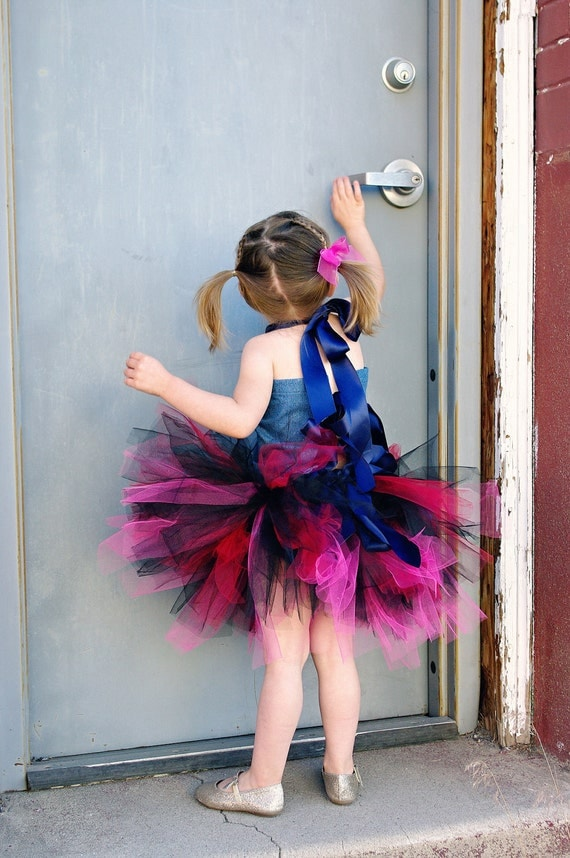 Diva Denim Grunge Tutu Ensemble, Fabric Tie Top and Ribbon Waist Multi-Length Tulle Tutu for Girls