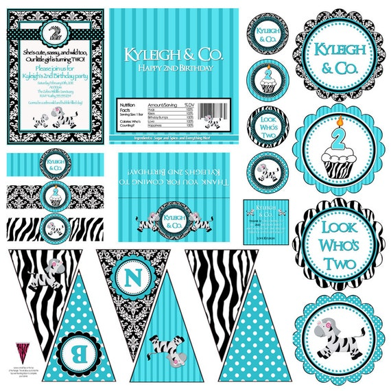 Printable Tiffany Blue Zebra Happy Birthday Banner Instant