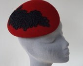 Red Felt Hat with Black Flower Motif