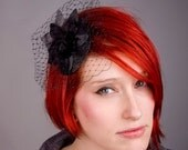 Black Fascinator, Orchid Flower, Small