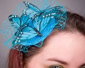 Turquoise Fascinator- Turquoise Butterfly -Small