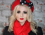 Red Hat- Red Beret Hat with Black-White Polka Dot Bow
